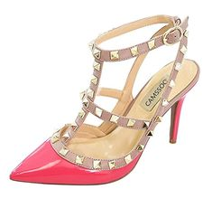 ebe44e4b74f9 CAMSSOO Women s Classic Studded Strappy Pumps Rivets High Heels Stiletto  Sandals T-Strap Shoes Fushia Beige Patent PU Size US9 EU41