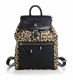 Your #1 Source for Jewelry and Accessories » Tory Burch Kerrington Leopard-Print Backpack, Ocelot/Black