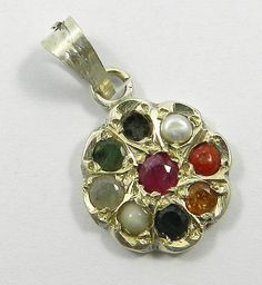 Magical Collection! Solid 925 Sterling Silver Navratna Gemstone Flower Pendant #MagicalCollection #Pendant