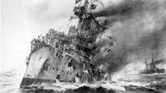 Pintura de la Batalla de las Falkland o Malvinas