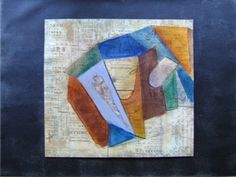 Facets - Pastel and collage on paper on canvas