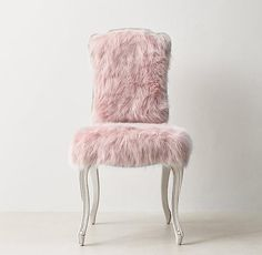 RH TEEN& Sophie Kashmir Faux Fur Desk Chair - Dusty Rose:A classic Louis XV silhouette is given an extra dose of glamour when upholstered in faux fur. The comfortable frame features a gracefully carved apron and cabriole legs.