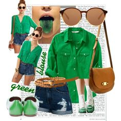 green blouse, created by croquette on Polyvore