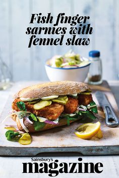 For some childhood nostalgia, try our fish finger sarnies with fennel slaw recipe. Crisp-crumbed fish fingers, gherkins, watercress and a zesty slaw are piled into ciabatta for a satisfying and easy meal for two, ready in 30 minutes. Slaw Recipes, Fish Recipes, Lunch Recipes, Seafood Recipes, Savoury Recipes, Sandwiches, Sandwich Box, Sandwich Ideas, Easy Meals For Two