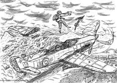 Desenho antigo de um combate aéreo.