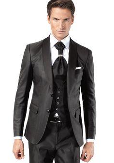 Costume 4 pièces noir satiné | Costume de marié Jean De Sey Paris