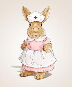 Accessories Id Badge Holders Products Life Quotes Feelings - Modern Beatrix Potter, Nurse Drawing, Nurse Art, Nursing Students, Nursing Schools, Cute Nurse, Bunny Art, Bunny Bunny, Vintage Nurse