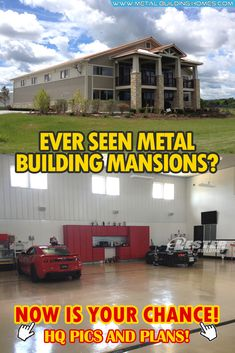 metal building houses Ever Seen Metal Building Mansions? Now Is Your Chance! This mansion made by Lester Buildings is truly one of the dreams that car enthusiasts love to achieve! Metal Building Homes, Metal Homes, Building A House, Metal House Plans, Free House Plans, Building A Container Home, Container Buildings, Huge Mansions, Tiny House Cabin