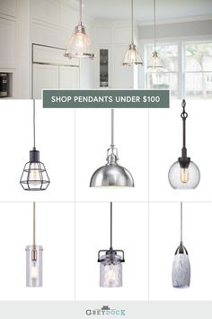 Find pendant light fixtures that match your budget & style at GreyDock! All orders over $49 ship for free. #pendantlighting #kitchenlighting