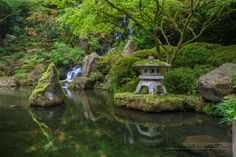 Koi Pond and Waterfall at Portland Japanese Garden http://www.fototripper.com/how-to-shoot-portland-japanese-garden/