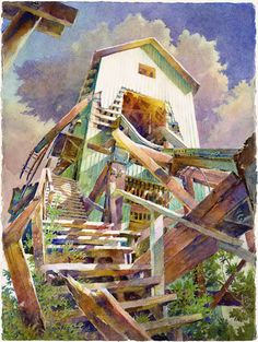 No. 3 Shafthouse Stairs  Watercolor by Peter Jablokow - nice colors!