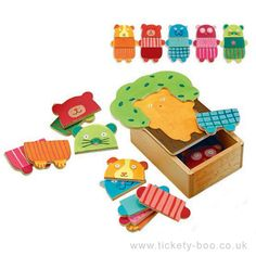 A lovely, brightly coloured, mix and match game. Choose which face, tummy and trousers to use to create differently dressed animals. The pieces come in a lovely wooden storage box too. 15 Pieces  Suitable From   2+ years Dimensions   Box 13 x 15 x 6.5cm Brand   Djeco Product Code   DJ01681 Barcode   3070900016811