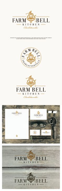 Brand identity for City Cafe in Charlottesville  Farm Bell Kitchen  Farm to Table Southern Food. #logo #design #farmtotable #farm #restaurant #cafe #farmbell #hand #drawn #illustration #branding #brand #identity
