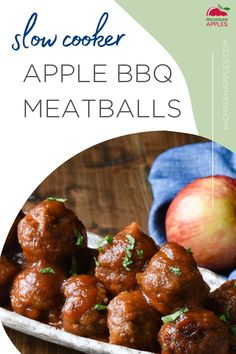 Slow Cooker Apples, Slow Cooker Recipes, Beef Recipes, Food Dishes, Main Dishes, Bbq Meatballs, Fall Dinner, Apple Recipes, Easy Dinner Recipes