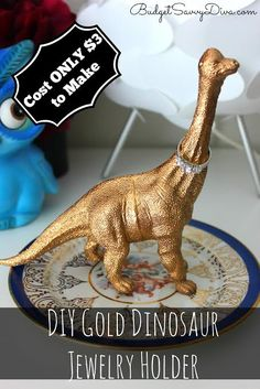Cost $3 to make at Anthropologie — it is $25! DIY Gold Dinosaur Jewelry Holder #DIY