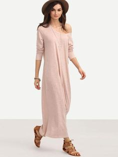 Pink long loose maxi dress. Casual shift pink dress that is worn with down sleeves or rolled up sleeves. Fabric: Fabric has some stretch Season: Spring Type: Tshirt Pattern Type: Plain Sleeve Length: