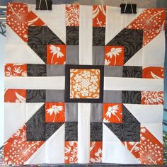 """Finished block for Mama Missa -used almost all the favorites. Gray/Orange/White Modern Block design: modified 12.5"""" version of Supernova QAL at Freshly Pieced"""