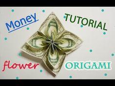 Big Amazing Money Flower Origami Dollar Tutorial DIY Folded No glue Flower Oragami, Origami Money Flowers, Rose Tutorial, Diy Tutorial, Plumaria Flower, Money Origami Tutorial, Craft Tutorials, Craft Ideas, Money Rose