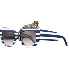 Anna-Karin Karlsson Rose et la Mer Stripe Sunglasses (9.717.060 IDR) ❤ liked on Polyvore featuring accessories, eyewear, sunglasses, acetate glasses, leopard print sunglasses, rectangle sunglasses, thick glasses and rose sunglasses