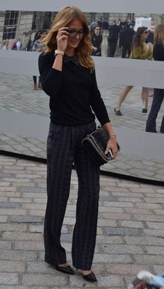 LFW Celebrity spot #2 of the day: Mills Mackintosh sporting the androgynous look at London Fashion Week in a bow tie and tailored trousers   Mint Velvet