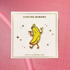 Dancing banana enamel pin- brighten up any day with this cute and funny banana pin :D by soft enamel pin) Paper Gift Bags, Paper Gifts, Dance Humor, Cool Pins, Metal Pins, Pin And Patches, Pin Badges, Lapel Pins, Creations