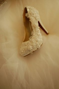 Handmade covered  Pearl and lace  wedding shoes  by Yanger218, $99.00