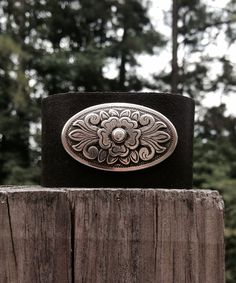 Leather Cuff with Scrolling Oval Wrap