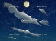 月と星と雲がある夜空 イラスト素材 Moon, The Moon