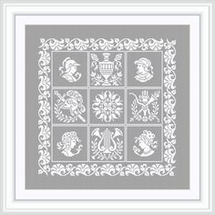 Nine small squares of ancient heraldic subjects Pattern for