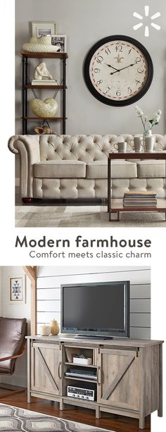 Cozy, comfy and packed full of rustic charm—the modern farmhouse look has never been so popular. Get the look for yourself with beautiful furniture and home decor from the Modern Farmhouse collection Home Living Room, Interior Design Living Room, Living Room Decor, Bedroom Decor, Interior Paint, Chillout Zone, Interior Design Minimalist, Rustic Bedding, Modern Farmhouse Style