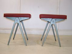 vintage retro 1950s ESA james leonard Compass stools alloy bases with leather seats