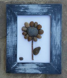 "Pebble Art Flower set on a brilliant white background in a 7 1/2 x 10 ""open"" rustic frame by CrawfordBunch on Etsy"