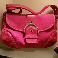 Coach handbag Furshia pink with suede sides on handbag no stains . Coach Accessories