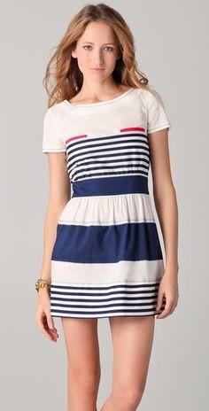 PHILOSOPHY DI ALBERTA FERRETTI    Striped Dress with Pink Pockets