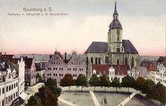 Marktplatz mit Amtsgericht und St. Wenzels-Kirche, 1915