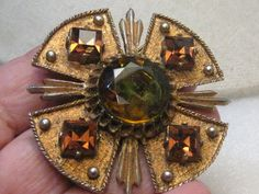 "Vintage Dodd's Maltese Cross Brooch Pendant - Amber and Green Stones, 2.25"", 1960's/1970's"