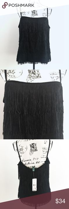 "Ralph Lauren Black Fringed Party Top Ralph Lauren Black Fringed Camisole Top  Material: Polyester Size:  14 (Large) Bust: 41"", Waist: 34"" Condition: New With Tags Lauren Ralph Lauren Tops Camisoles"