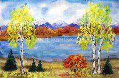 Пейзаж: Золотая осень для детей поэтапно с фото. Мастер-класс