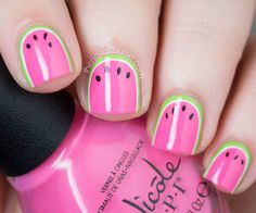 Pink and green watermelon nails