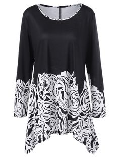 Plus Size Printed Asymmetric Tunic T-Shirt in White And Black | Sammydress.com