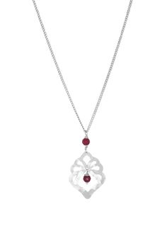 Elektra Statement Beaded Pendant - Deep Berry Agate - Nicole Fendel - these feminine cut-outs are adorned Rose Quartz and Deep Berry Agate stones.