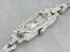 Vintage Diamond Waltham Wrist Watch, Platinum and Diamond Watch, Ladies Wrist Watch, Anniversary Gift - Watches - Wristband Antique Watches, Antique Rings, Vintage Watches, Antique Jewelry, Vintage Jewelry, Art Deco Watch, Art Deco Jewelry, Metal Jewelry, Jewelry Box