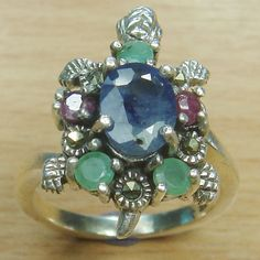 Massjewelry - Genuine Ruby Emerald Sapphire 925 Sterling Silver Turtle Ring