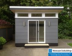 Westcoast Outbuildings constructed a beautiful Lifestyle Outbuildings Modular Backyard Office in it's North Vancouver factory & delivered complete Pool Shed, Backyard Sheds, Outdoor Sheds, Backyard Decks, Backyard Privacy, Pool Landscaping, Backyard Office, Backyard Studio, Modern Backyard