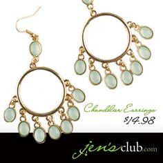 "Chandelier Earrings From Regal      Soft mint green stones dangle gently from 1""Diam. hoops. These lightweight earrings feature fish hook posts and acrylic stones. (3""L)  Product Number - JC1007"