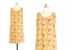 Vintage Tribal Print Dress -- African Dress -- Mud Cloth Dress -- Cotton Dress Abstract Fish Print -- Sleeveless Shift Dress -- Womens S by ImprovGoods on Etsy