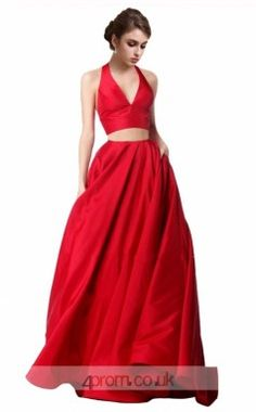 Ruby Charmeuse A-line V-neck Halter Long Two Piece Prom Dress(JT3555 fafdb00a1