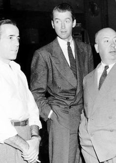 Humphrey Bogart, James Stewart, and Alfred Hitchcock