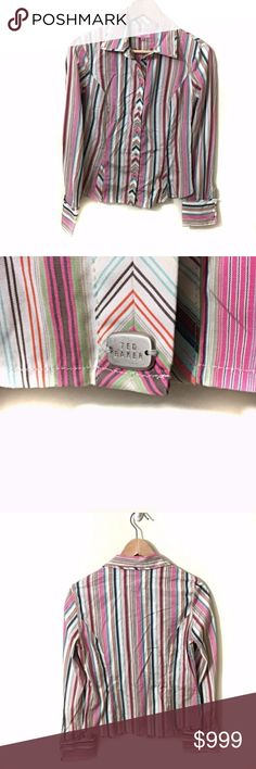 """Ted Baker London Size 3 (8 or M) Button Down Shirt Ted Baker London Size 3 Long Sleeve Women's Striped Button Down Fitted Shirt Stretchy 100% Cotton Length 23"""" Armpit to Armpit 18""""  Ted size 3 = a U.S. 8 or medium Ted Baker London Tops Button Down Shirts"""