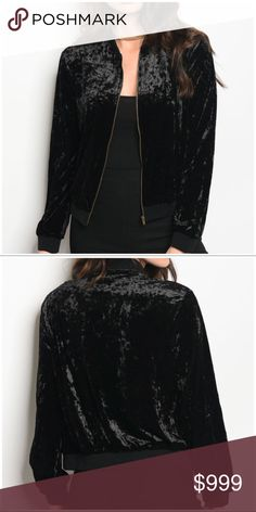 Coming 🔜 Black Crushed Velvet Bomber Jacket You'll be On Trend with this must have jacket! 95% Polyester 5% Spandex. More info to come! Like for price drop notification. Boutique Jackets & Coats